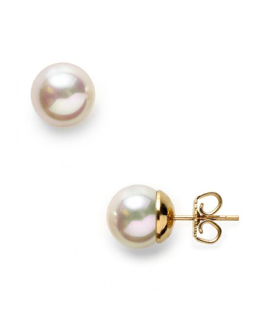 Majorica - White Simulated Pearl Stud Earrings - Lyst
