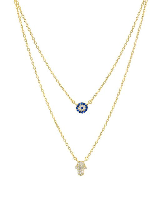 Aqua Metallic Double Strand Hamsa Pendant Necklace In 14k Gold - Plated Sterling Silver Or Sterling Silver