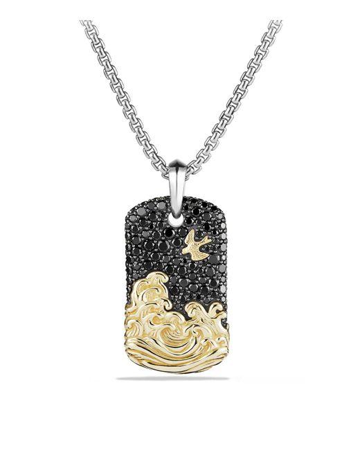 David Yurman | Metallic Waves Tag With Black Diamonds And 18k Gold | Lyst