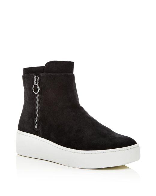 Via Spiga - Black Women's Easton Suede Platform High Top Sneakers - Lyst