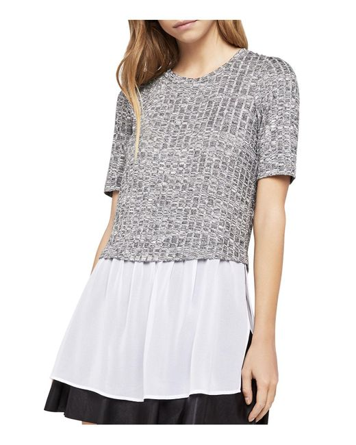 BCBGeneration   Black Mixed Media Layered-look Top   Lyst