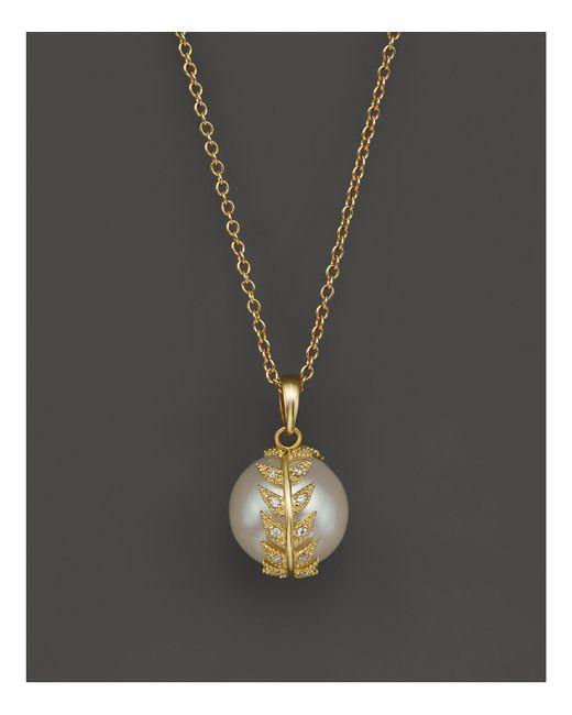 "Mizuki   Metallic 14k Yellow Gold White Cultured Freshwater Pearl Necklace With Diamond Eternity Feather, 16""   Lyst"