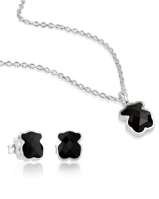 Tous - Black Sterling Silver Teddy Bear Necklace & Earrings Set - Lyst