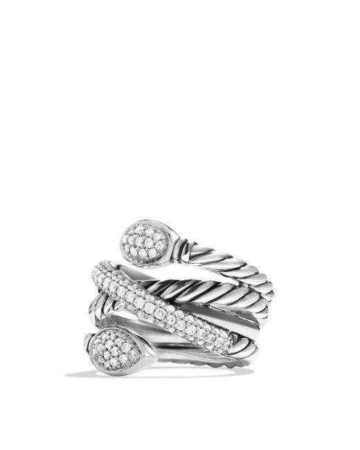 David Yurman - Metallic Renaissance Crossover Ring With Diamonds - Lyst