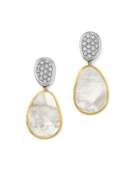 Marco Bicego - 18k White & Yellow Gold Lunaria Mother-of-pearl Diamond Double Drop Earrings - Lyst