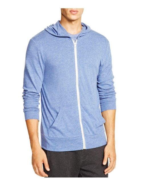 Alternative Apparel - Blue Heathered Zip Hoodie for Men - Lyst