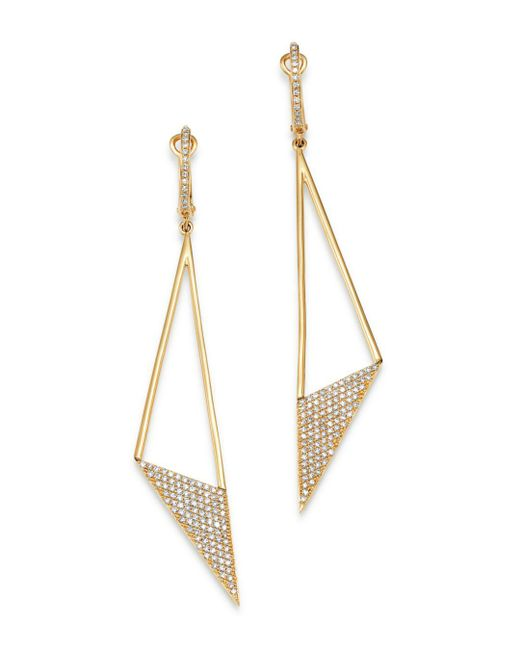 KC Designs - Metallic 14k Yellow Gold Modern Triangle Diamond Drop Earrings - Lyst
