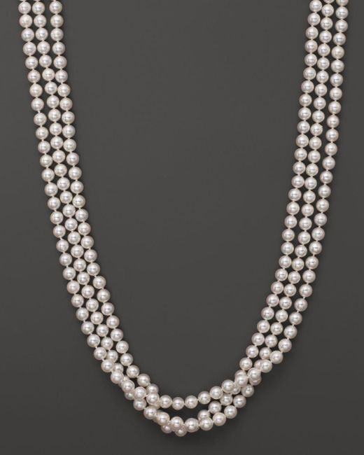 """Bloomingdale's - Metallic 14k Yellow Gold 3 Row Cultured Akoya Pearl Necklace, 17"""" - Lyst"""