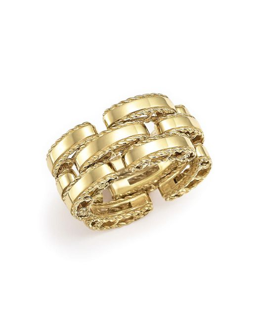 Roberto Coin - Metallic 18k Yellow Gold Retro Ring - Lyst