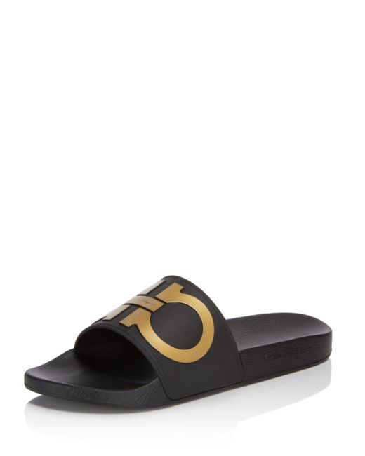 Ferragamo - Black Groove Gancini Slide Sandal for Men - Lyst