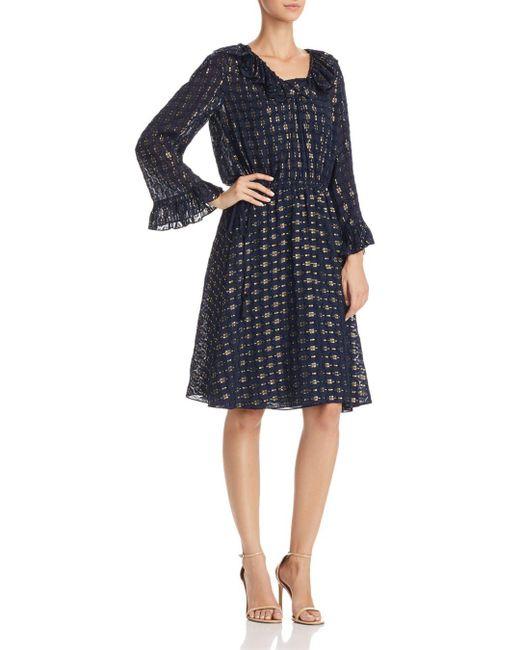 Tory Burch - Blue Jasmine Metallic Ruffle Dress - Lyst