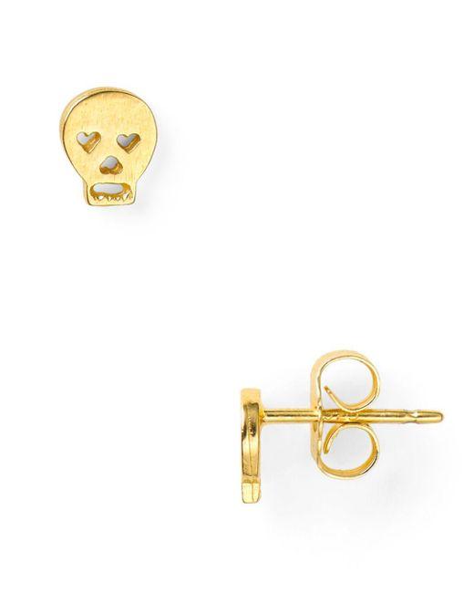 Dogeared - Metallic Little Things Mini Gold Skull Stud Earrings - Lyst