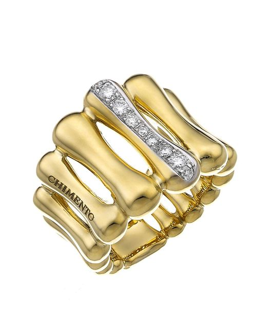 Chimento - Metallic 18k Yellow & White Gold Bamboo Over Collection Statement Ring With Diamonds - Lyst