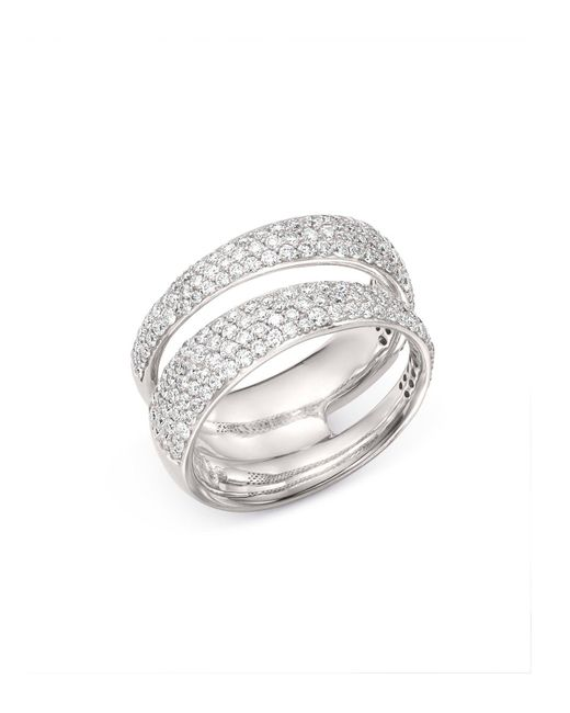 Roberto Coin - 18k White Gold Scalare Double Pavé Diamond Ring - Lyst