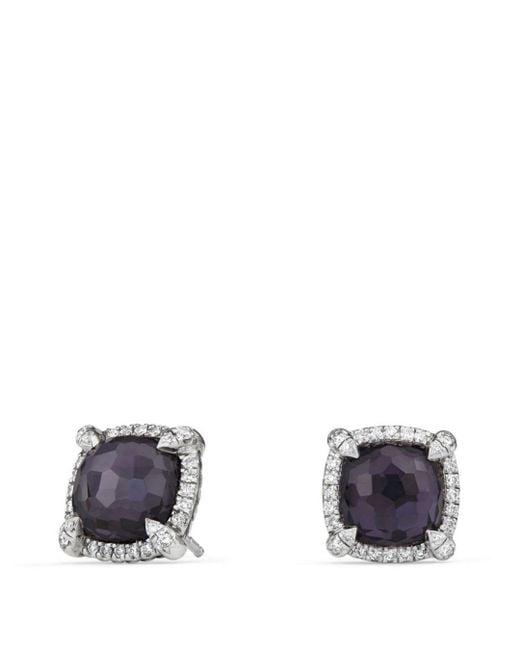 David Yurman - Châtelaine Pavé Bezel Earrings With Black Orchid And Diamonds - Lyst