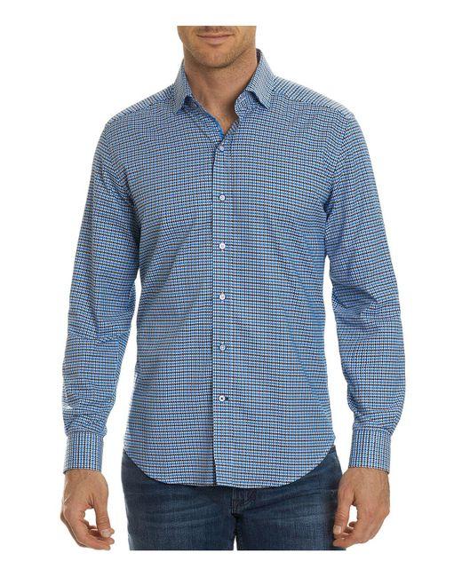 Lyst robert graham balder gingham button down shirt in for Blue gingham button down shirt