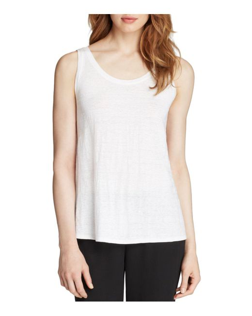 Eileen Fisher | White System Scoop Neck Long Tank | Lyst