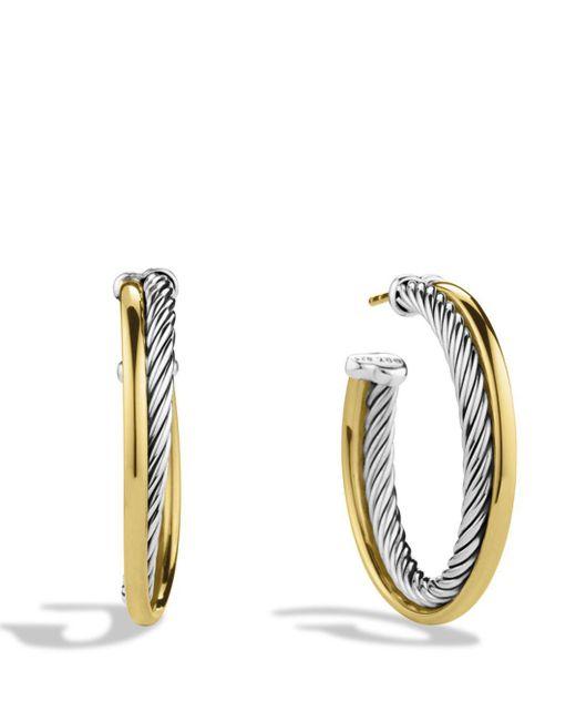 David Yurman - Metallic Crossover Medium Hoop Earrings With Gold - Lyst