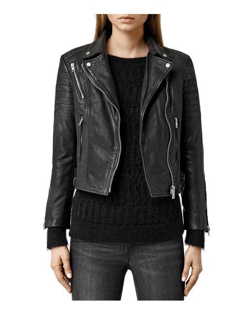 AllSaints | Black Papin Leather Biker Jacket | Lyst