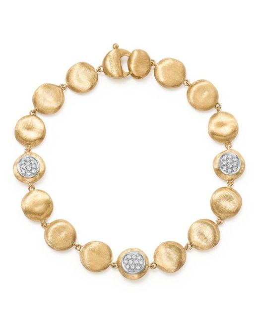 Marco Bicego - Metallic 18k Yellow Gold Diamond Pavé Jaipur Link Small Beaded Bracelet - Lyst