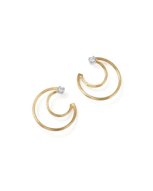 Marco Bicego | Metallic 18k Yellow Gold Luce Diamond Crescent Stud Earrings | Lyst