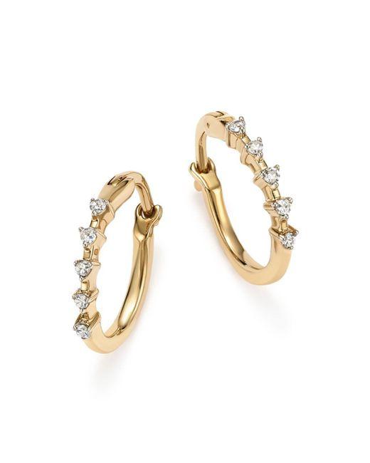 Adina Reyter - Metallic 14k Yellow Gold 5 - Diamond Huggie Hoop Earrings - Lyst