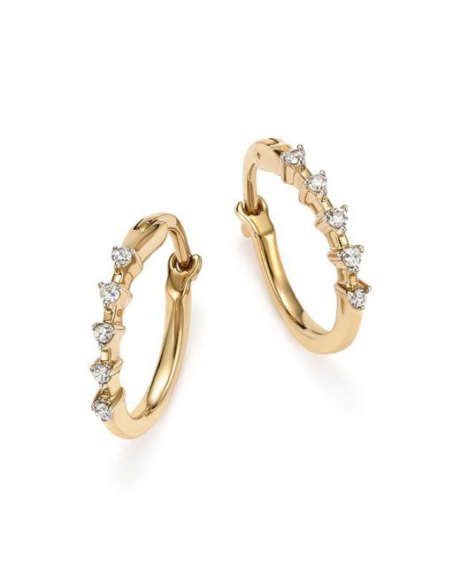 Adina Reyter - Metallic 14k Yellow Gold 5-diamond Huggie Hoop Earrings - Lyst