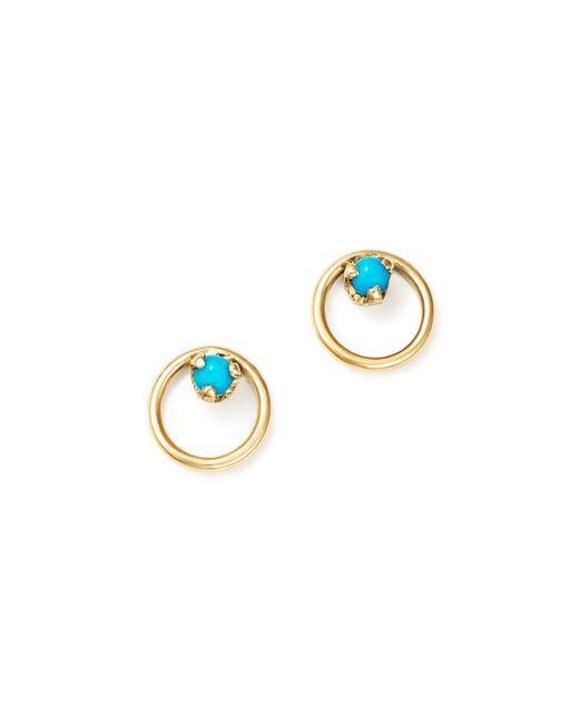 Zoe Chicco - Metallic 14k Yellow Gold Turquoise Circle Stud Earrings - Lyst