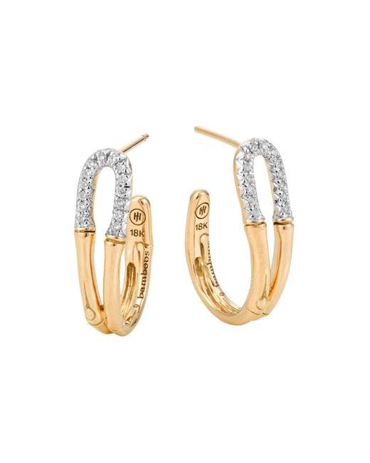 John Hardy   Metallic Bamboo 18k Gold And Diamond Small Hoop Earrings   Lyst