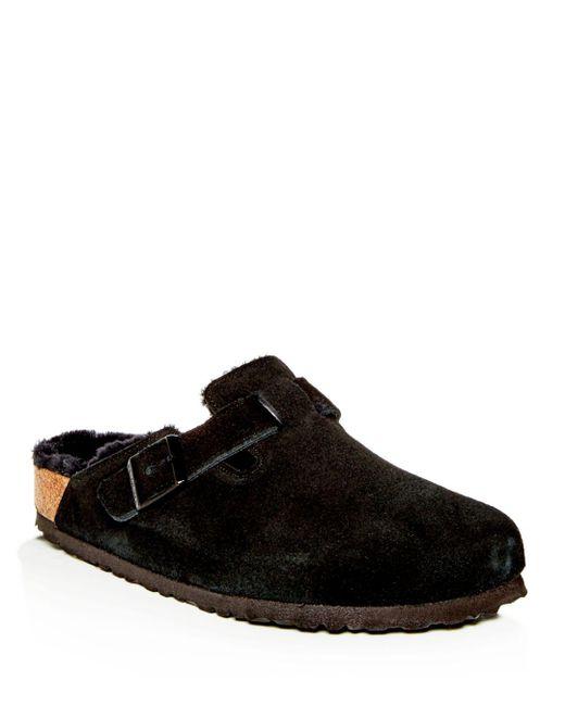 Birkenstock - Black Men's Boston Leather & Shearling Mules for Men - Lyst