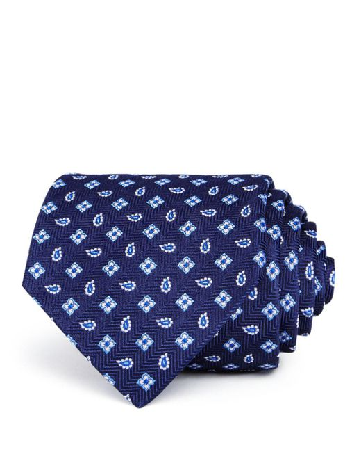 Turnbull & Asser - Blue Neat Pine Squares Silk Classic Tie for Men - Lyst