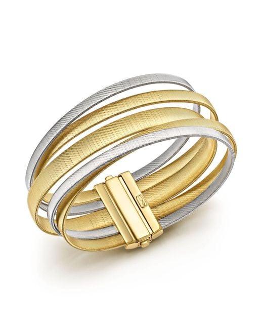 Marco Bicego | Metallic 18k White & Yellow Gold Masai Five Strand Crossover Bracelet | Lyst