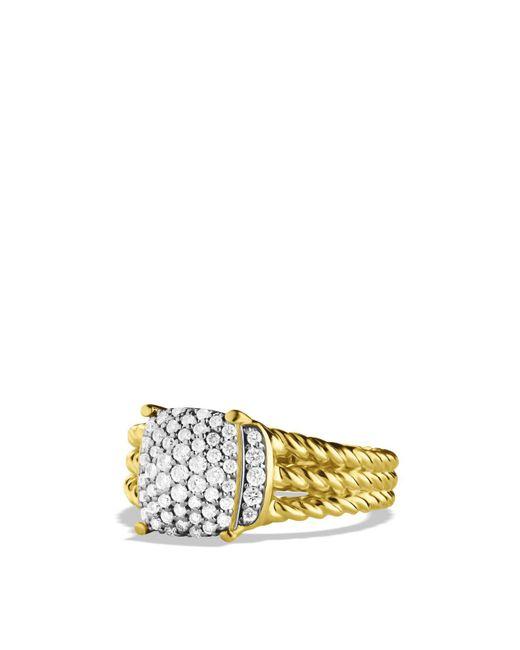 David Yurman | Yellow Petite Wheaton Ring With Diamonds In Gold | Lyst