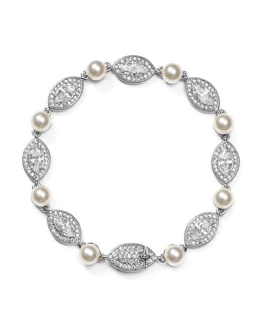 Nadri - Metallic Simulated Pearl Bracelet - Lyst