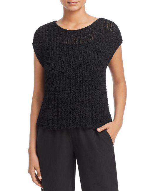 Eileen Fisher Black Cap - Sleeve Sweater