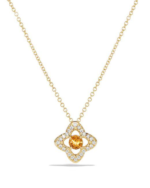 David Yurman - Metallic Venetian Quatrefoil Necklace With Citrine And Diamonds In 18k Gold - Lyst