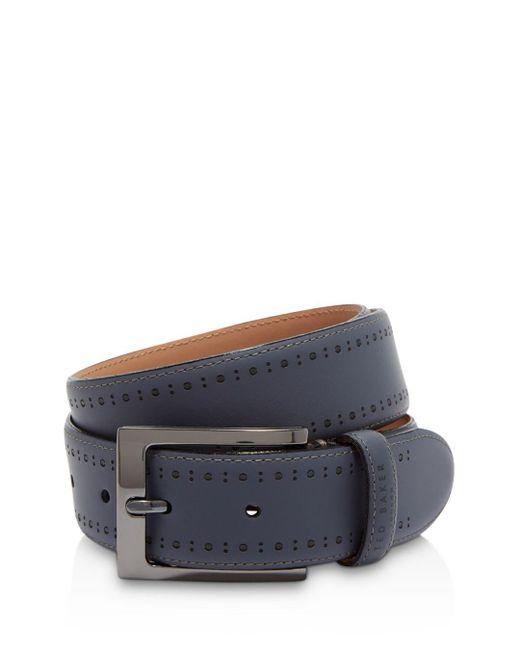 Ted Baker - Blue Havan Rubber Leather Brogue Belt for Men - Lyst