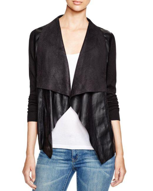 MICHAEL Michael Kors - Black Draped Faux Leather Cardigan - Lyst