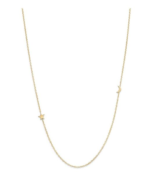 "Zoe Chicco - Metallic Zoe Chicco 14k Yellow Gold Itty Bitty Crescent Moon And Star Necklace, 18"" - Lyst"