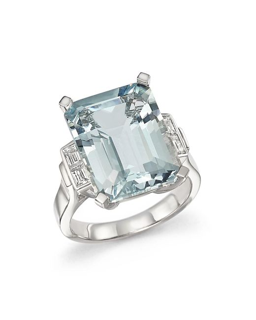 Bloomingdale's - Multicolor Aquamarine And Diamond Baguette Ring In 14k White Gold - Lyst