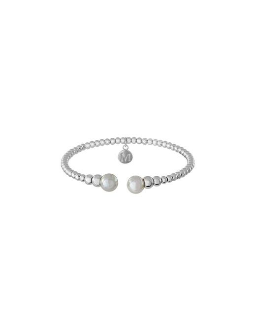 Majorica - White Simulated Pearl Bead Cuff - Lyst