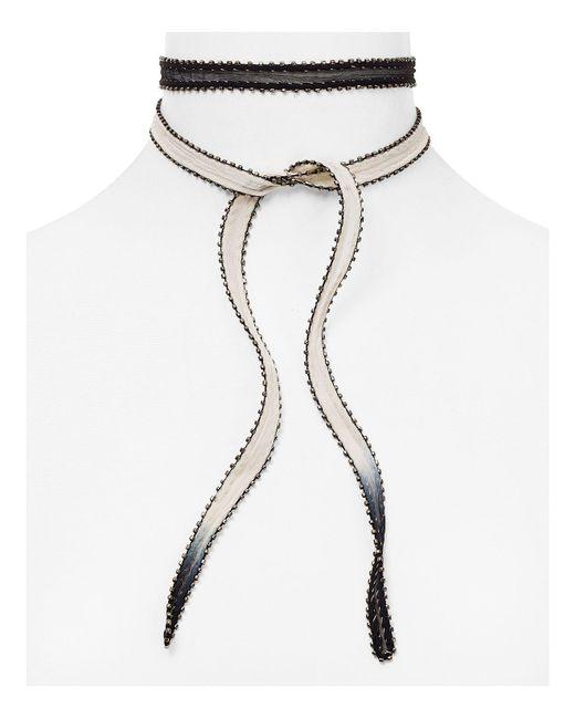 Chan Luu | Black Dip Dyed Beaded Edge Necktie | Lyst