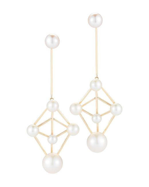 Mateo - Metallic 14k Yellow Gold Cultured Freshwater Pearl Atomium Drop Earrings - Lyst