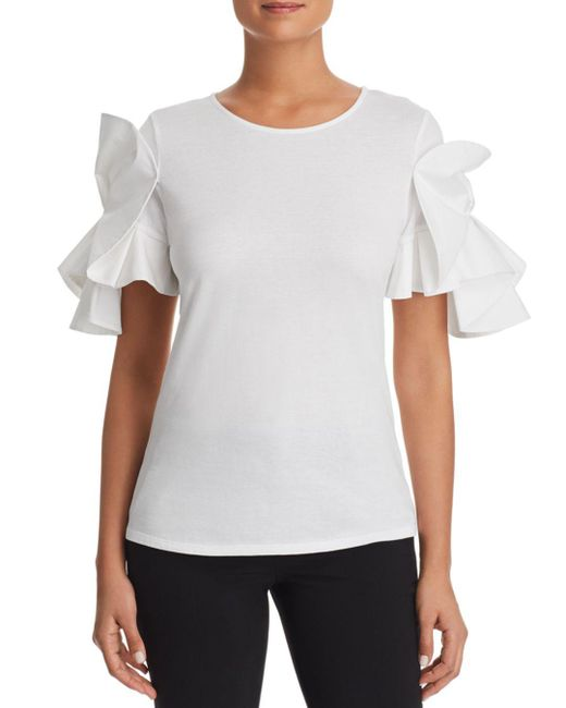 Badgley Mischka - White Origami-sleeve Tee - Lyst