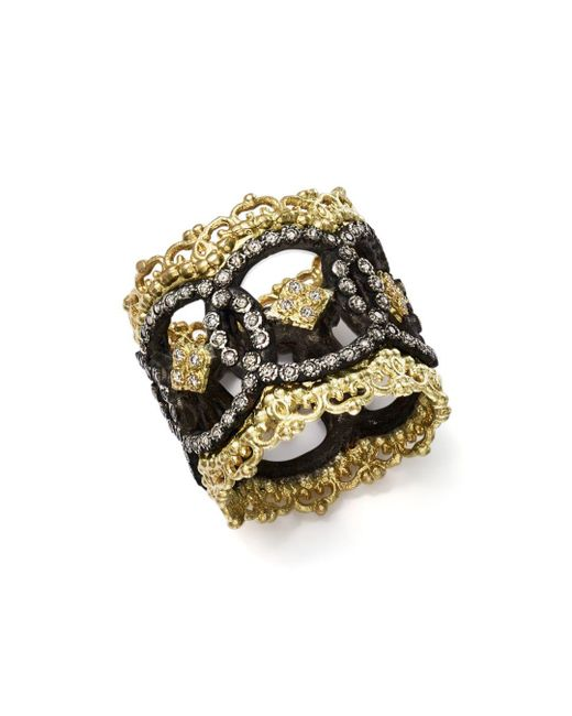 Armenta - Metallic 18k Yellow Gold And Blackened Sterling Silver Old World Champagne Diamond Scalloped Ring - Lyst