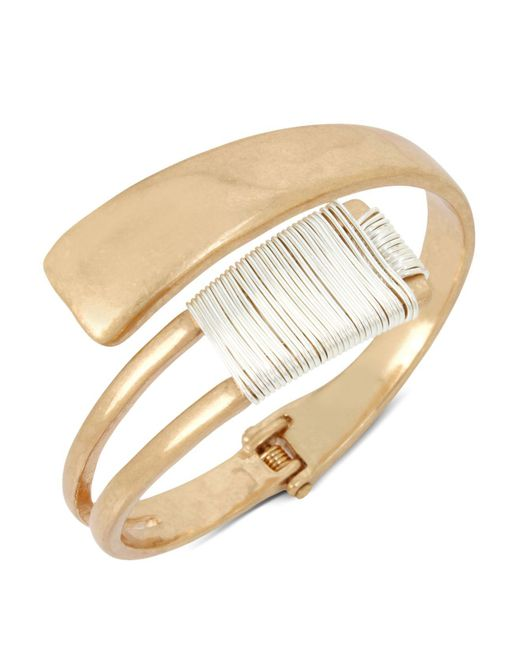 Robert Lee Morris | Metallic Two-tone Wire Wrap Bypass Cuff | Lyst