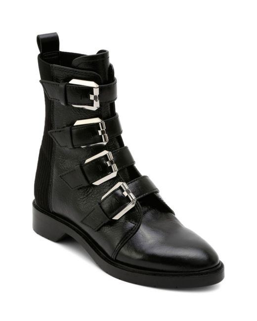 Dolce Vita - Black Women's Gaven Buckled Leather Combat Booties - Lyst