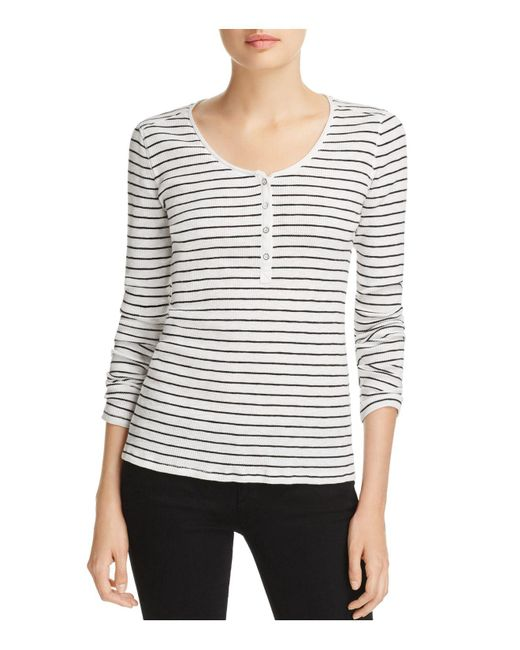 Rag & Bone - Black Lilies Striped Henley Top - Lyst