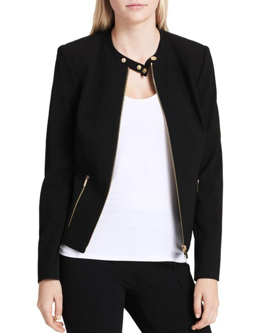 Calvin Klein - Black Crepe Moto Jacket - Lyst