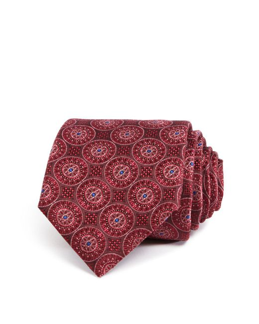 Canali | Red Large Medallion Classic Tie for Men | Lyst